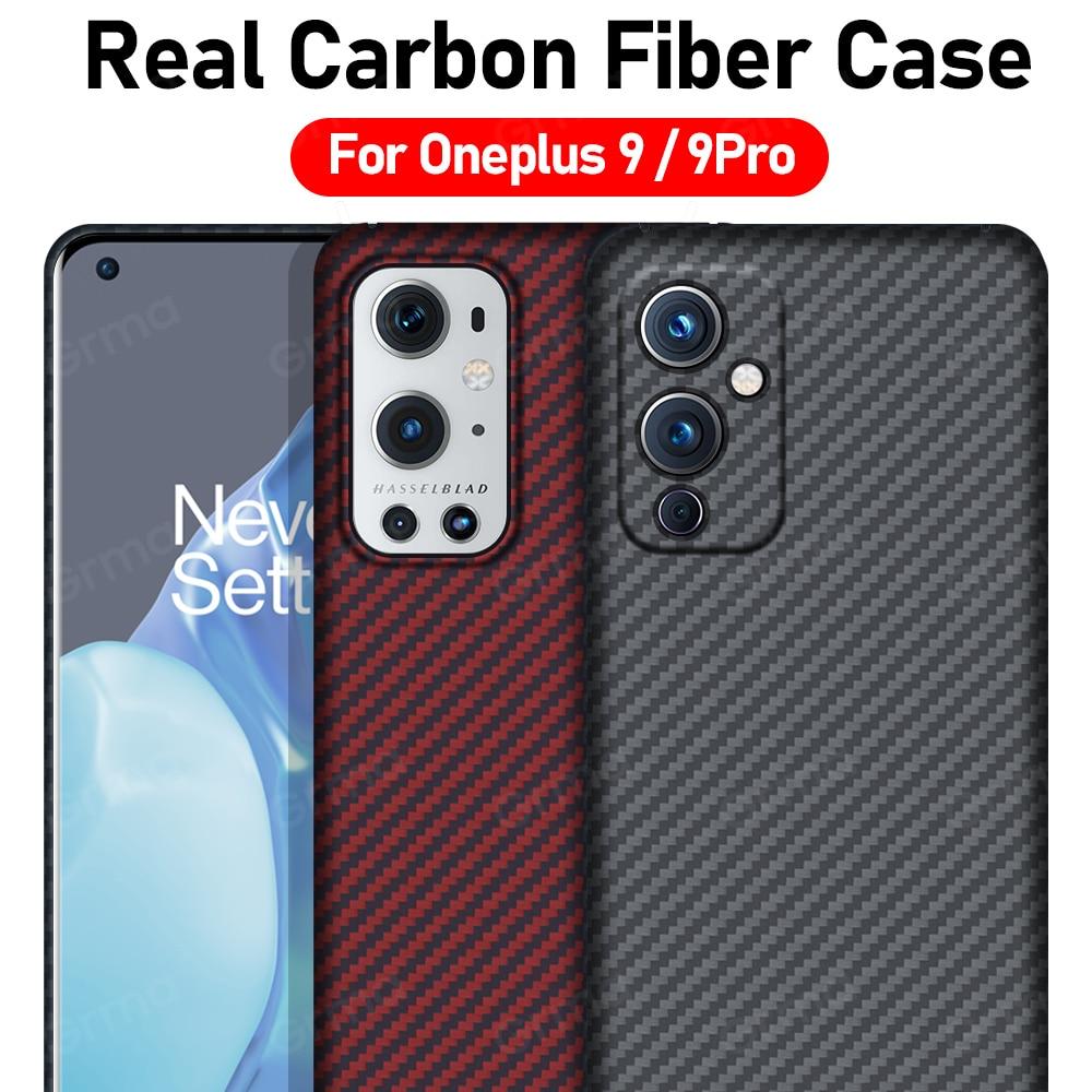 GRMA الأصلي حقيقية حقيقية ألياف الكربون النقي الغطاء الخلفي ل Oneplus One plus 9 برو جراب هاتف رقيقة جدا للصدمات غطاء