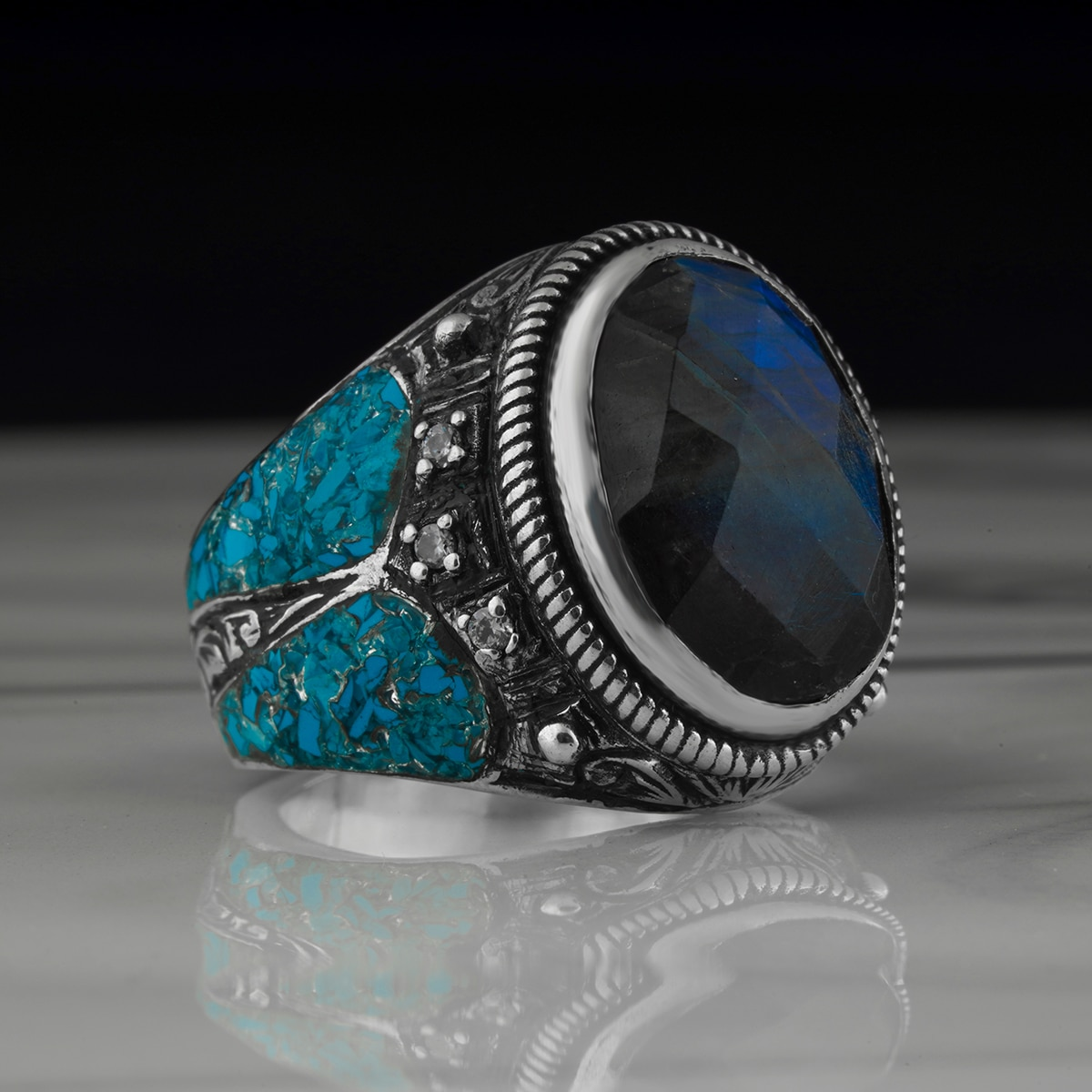 Sterling Silver Rings For Men Chalcedony Stone Blue Colour 925 Silver Rings 2021 Trend  Jewelry Fashion Vintage Gift Aqeq Onyx