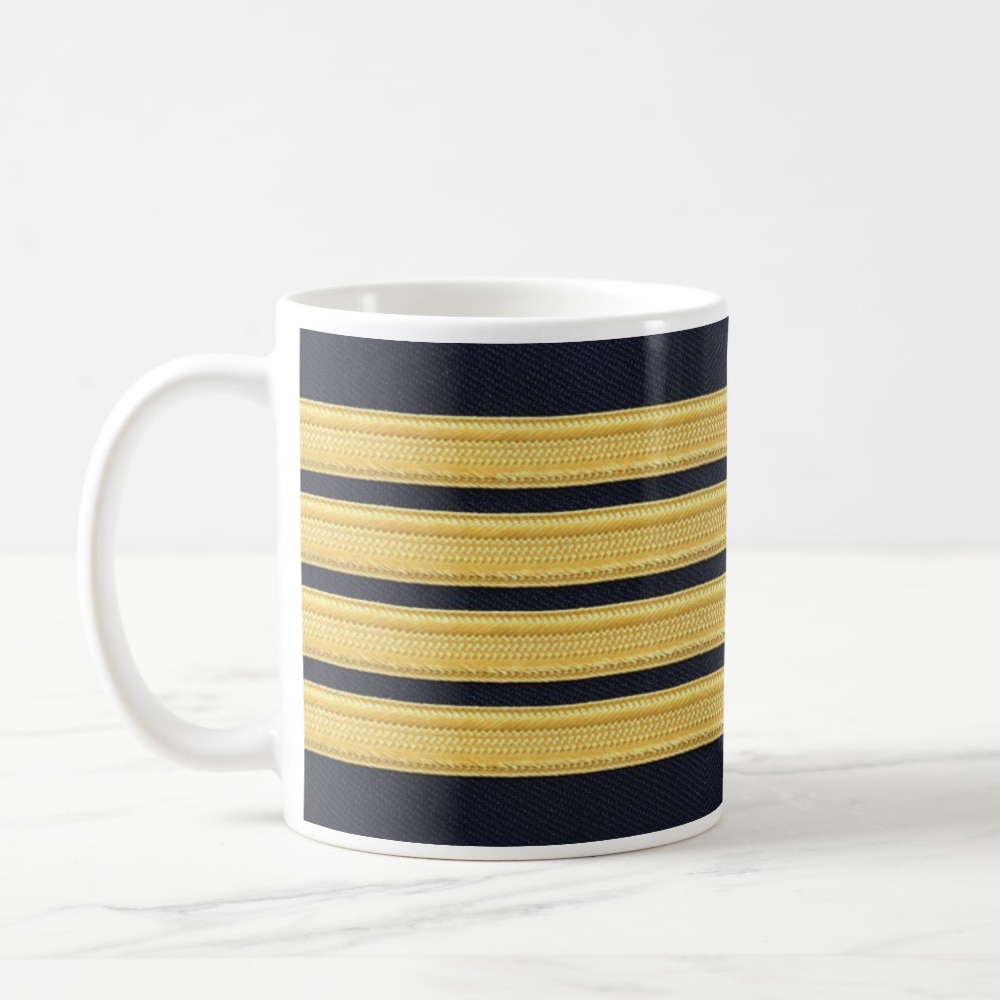 Pilot Four Stripes Coffee Mug: Pilot Mug, Pilot Gifts, Airplane Mug, Co-Pilot Gift, Aviation, Aviation Gifts, Mug 11oz,
