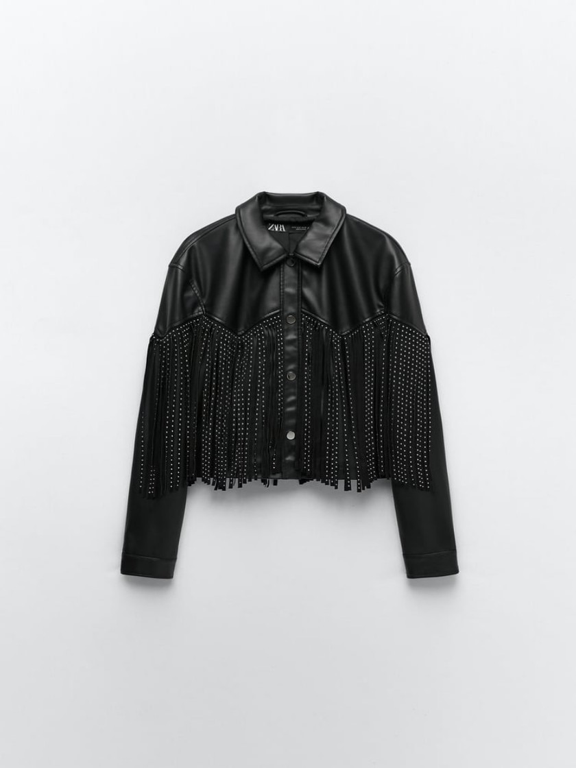 Women, ZARA, 2021 FAUX LEATHER JACKET WITH FRINGING JACKET WITH LONG SLEEVES AND COLLAR. BEAD APPLIQUÉ, TASSEL DETAIL AND FRONT enlarge