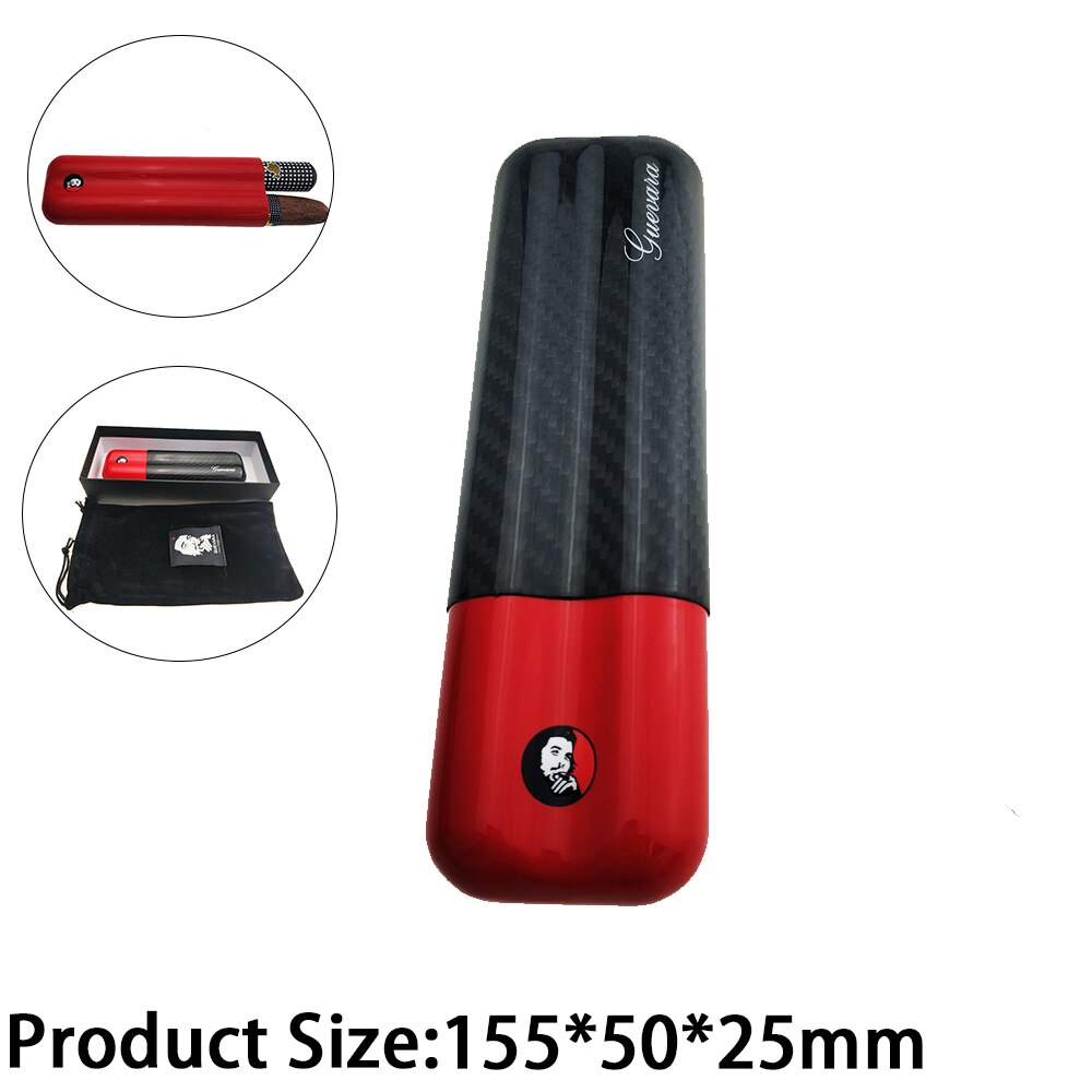 Cohiba cigar tube Carbon Fiber Cigar Case 2 Tube Travel Humidor Portable Holder Accessories for 2 Cigar Best Gift