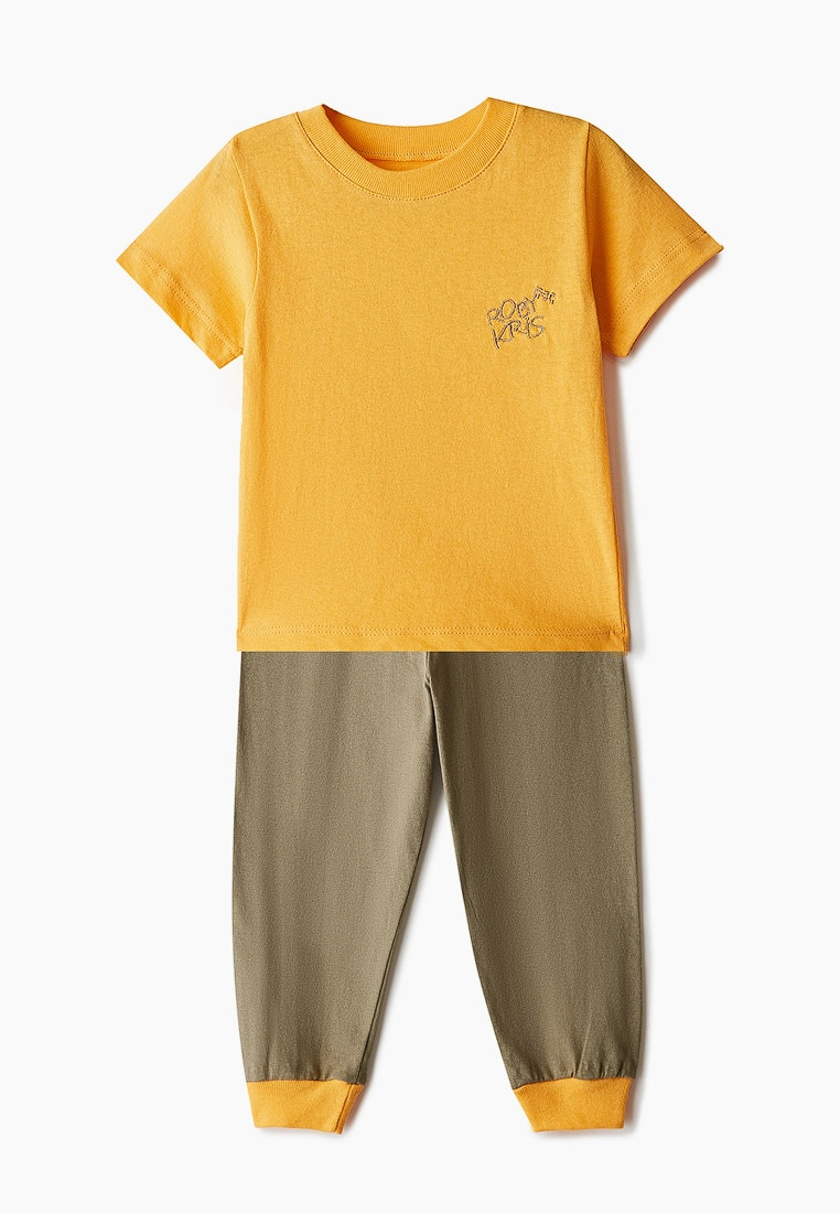 Пижама детская, для мальчиков, хлопковая, комплект домашней одежды, RobyKris 40 23 20 оранжевый хаки