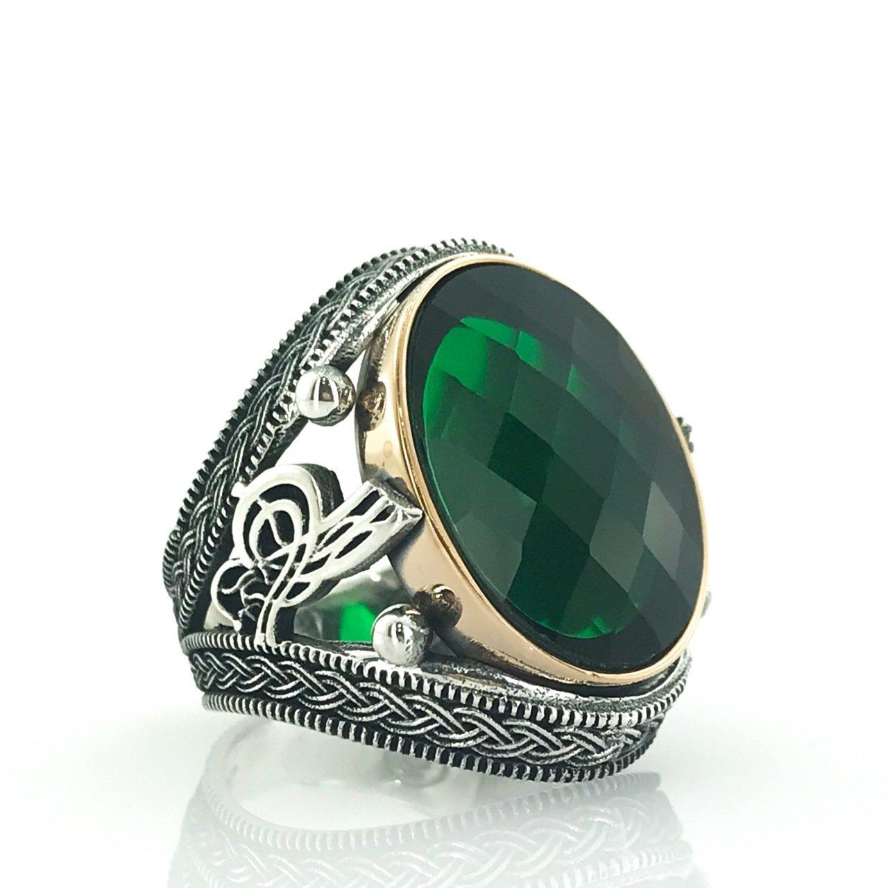 خاتم رجالي فضة زمردي أخضر كبير بيضاوي