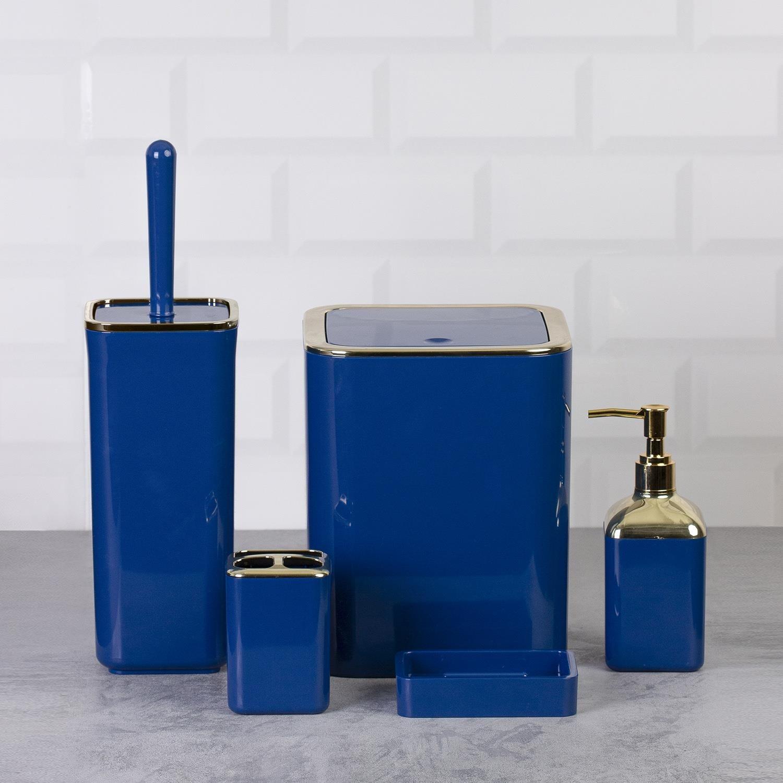 OceanLand Gold Series Square Bathroom Set of 5 dustbin toilet brush toothbrush holder liquid solid soap dispenser Hard Plastic enlarge