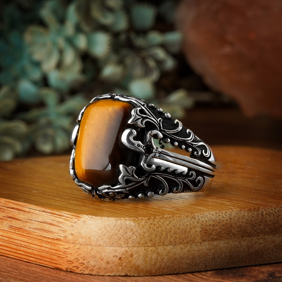 Real 925 Sterling Silver Islamic Men Ring with Men Ring with Firuz Stone Ring Double Swords Rings for Man Turkish Religious