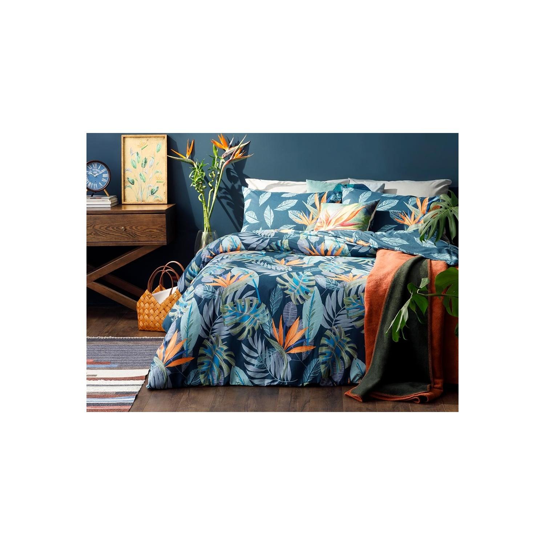 غطاء لحاف مزدوج من القطن بزخارف زهور ، 200 × 220 سم ، أزرق داكن