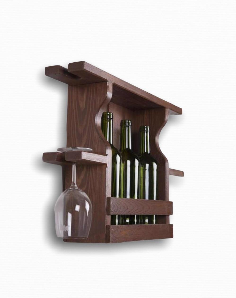 Natural Massive Wood Wine Stand Rack Bottle Cabinet Creative Holders Decorative Wooden Goblet Hanger Interior Decoration недорого