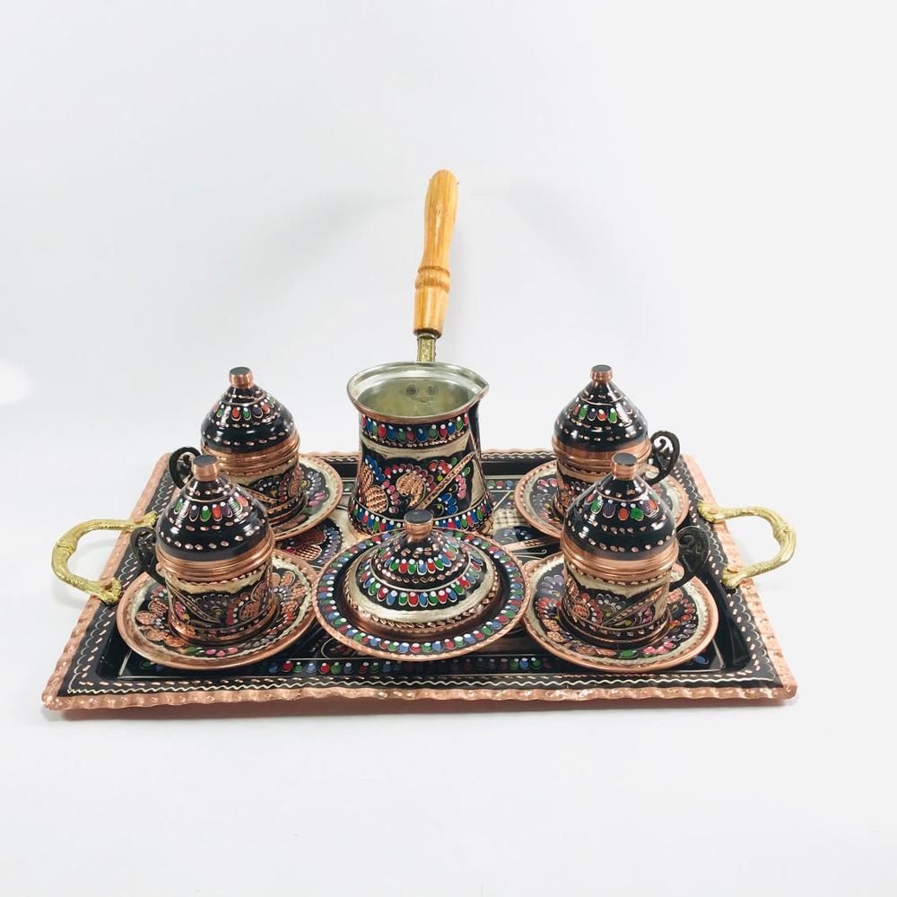Conjunto de Café Xícaras de Café e Café Pote de Cobre 100% de Cobre Turco Tradicional Cobre Gravado Handmade 4 Pessoas