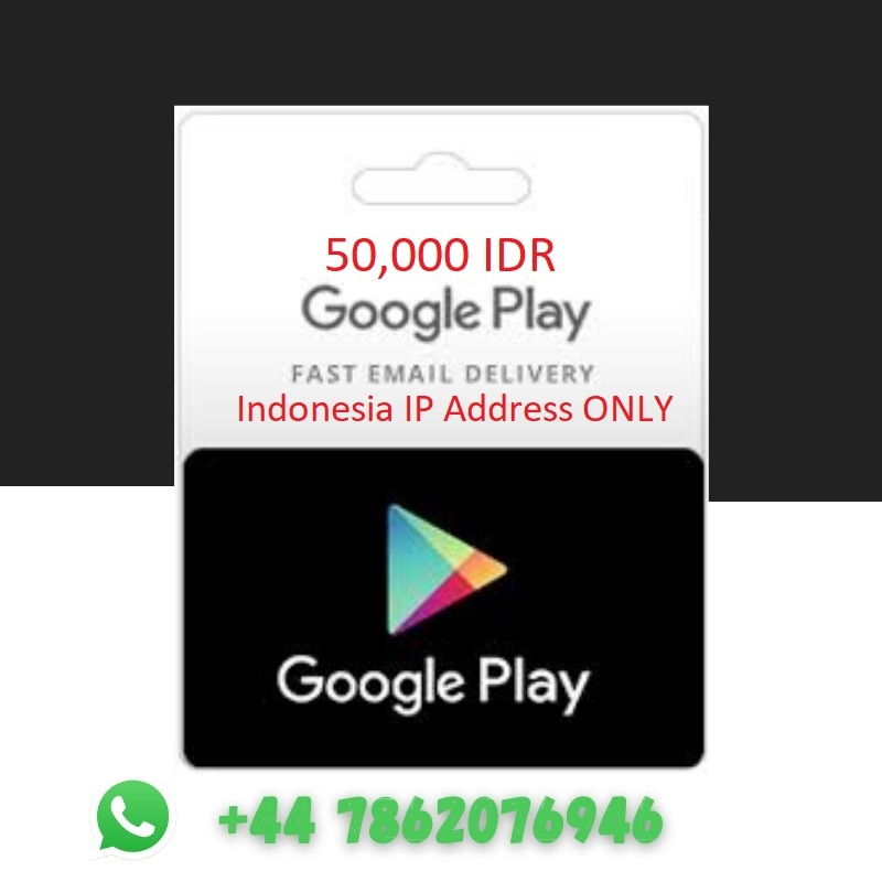 CODE - GOOGLE PLAY IDR 50,000 (ID) voucher, no physical shipping, only digital, with MESSAGE ALIEXPRESS