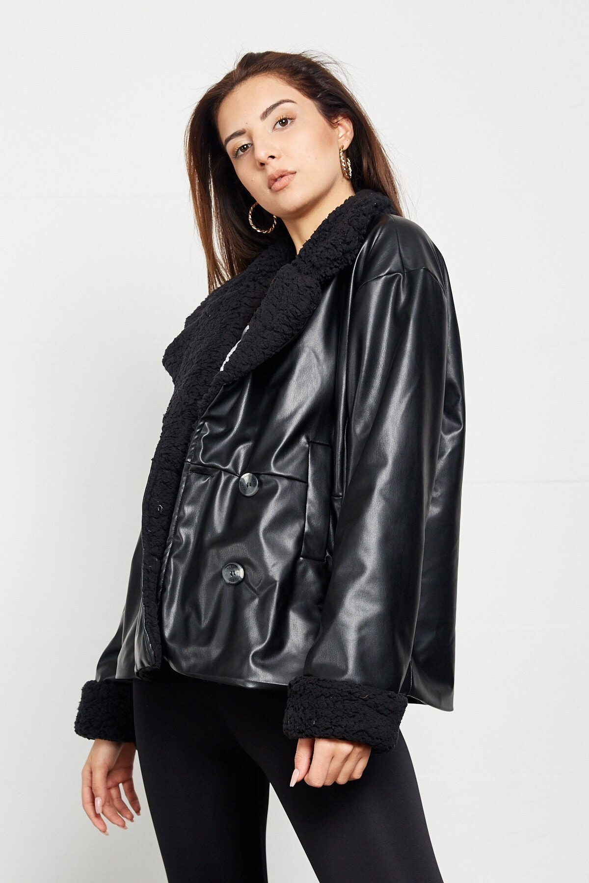 new high quality women fashion autumn winter black faux leather jackets zipper  Women's Faux Wool Faux Leather Jacket Warm Coats enlarge