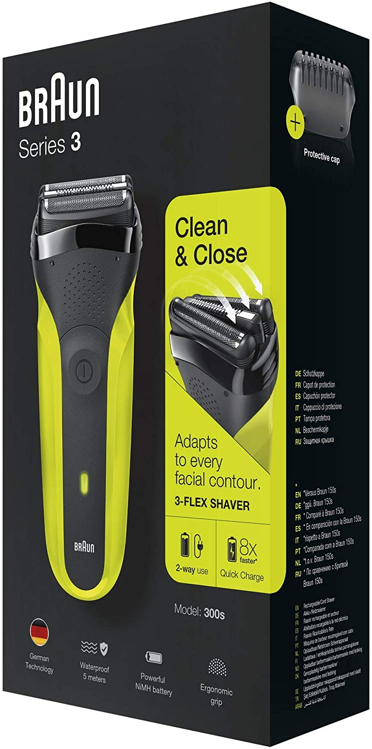 Braun Series 3 300 Electric Shaver, Men's Razor with 3 Flexible Blades, Rechargeable, Cordless, Washable, Black / Green Color enlarge