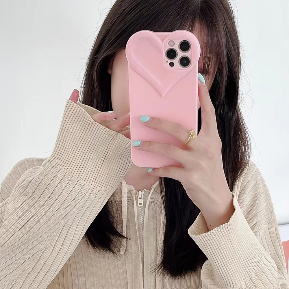 Candy Colors Three-dimensional Love Heart Bumper Phone Case For iPhone 11 12 Pro X XR XS Max 7 8 Plus Soft Shockproof Back Cover