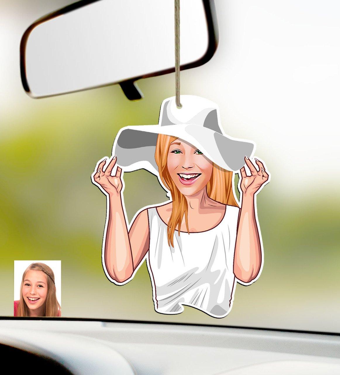 شخصية المرأة كاريكاتير من الخشب سيارة مرآة الرؤية الخلفية Süsü-20