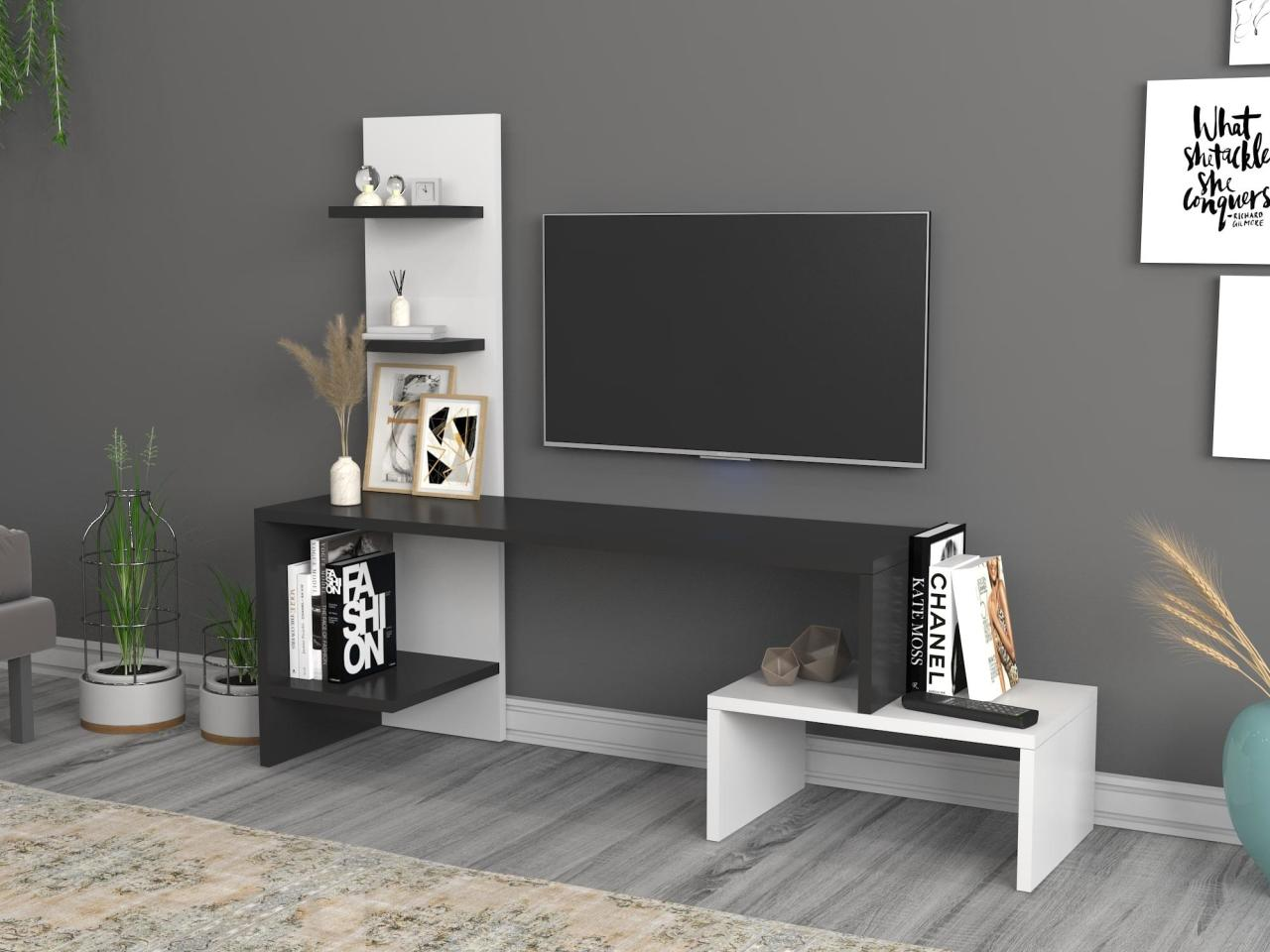 modern style cabinet cupboard matt body and glossy fronts led light living room furniture tv unit stand cabinets Home Furniture Tv Furniture Living Room Furniture TV Table TV Cabinet Sara Tv Stand Black