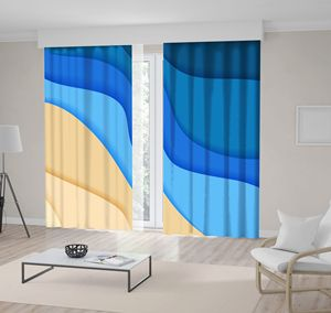 Curtain Sea Waves and Seacoast Summer Abstract Beach Nature Decorative Illustration Printed Beige Blue