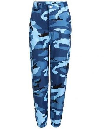 Ligentleman moda mujer Casual camuflaje estampado elástico deporte Cargo pantalones tobillo-atado Pantalones