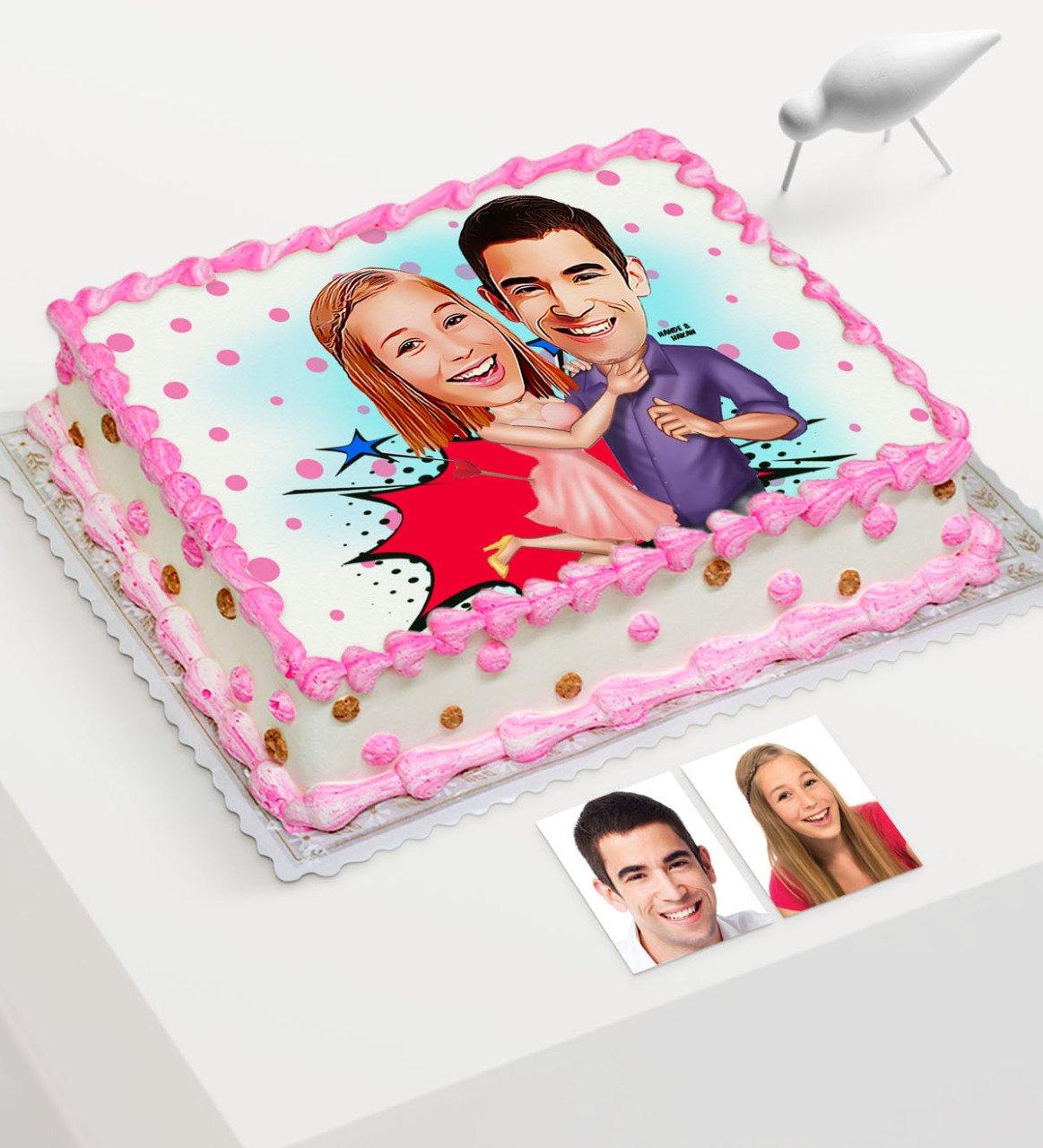 Torta de la edad impresa de dibujos animados de San Valentín personalizada para el azúcar comestible, papel-3