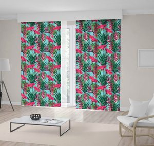 Curtain Floral Pattern Tropical Flowers Hibiscus Palm Leaves Jungle Plants Bright Colored Pink and Green Exotic Print
