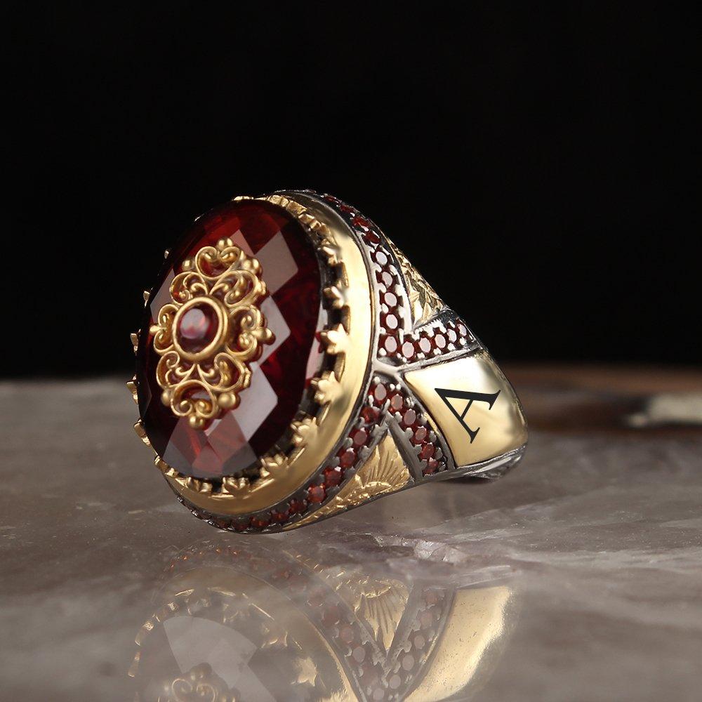 خاتم رجالي من الفضة الإسترليني عيار 925 مجوهرات مصنوعة يدويًا من حجر الزركون الأحمر