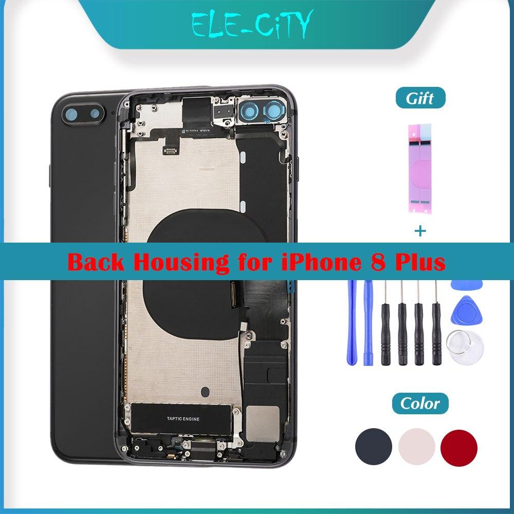 OEM carcasa trasera para iPhone 8 Plus medio marco chasis Flex Cable de asamblea completo de la cubierta de la batería con botones laterales LOGO