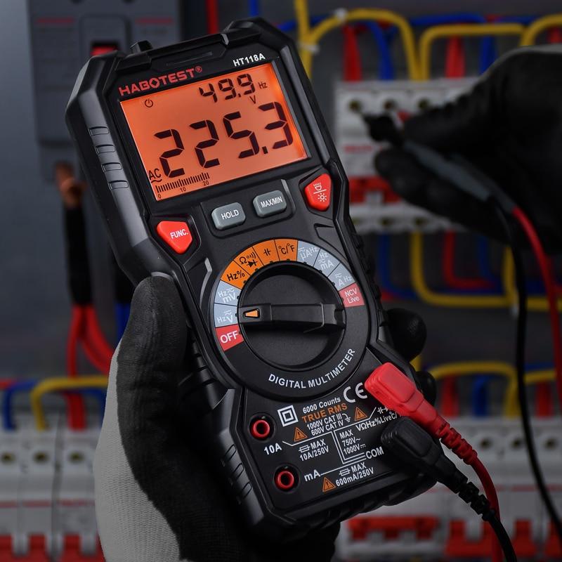 Профессиональный цифровой мультиметр HABOTEST HT118, вольтметр, автомобильный тестер, 1000 В, 10 А переменного тока, цифровой тестер транзисторов