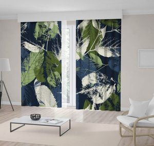 Curtain Abstract Pattern Leaves with Grunge Effect Nature Forest Night View Modern Home Decor Blue Green Beige
