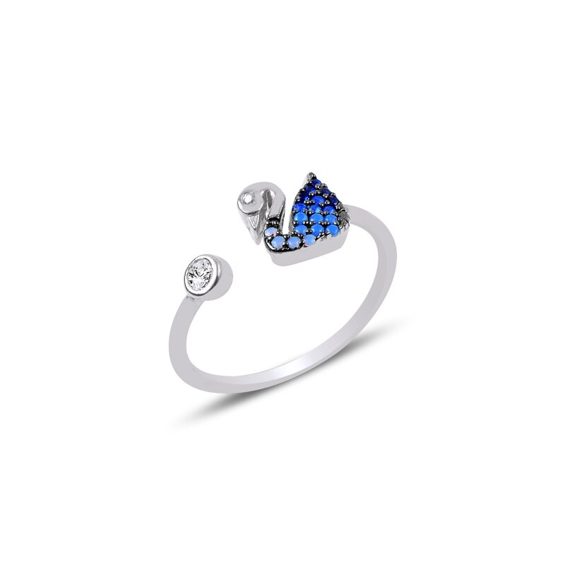 Silver 925 Sterling Nano Blue Gradation Cubic Zirconia Adjustable Tall Swan Ring