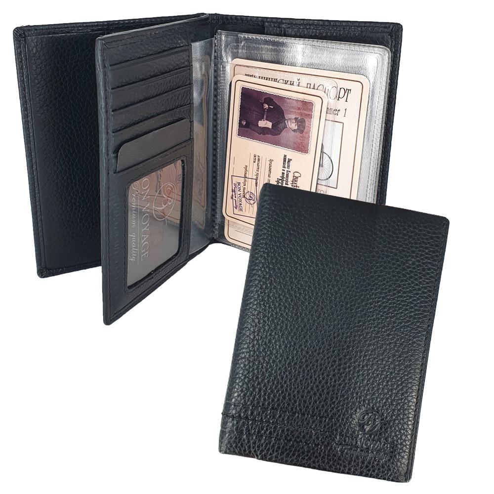 Porta pasaporte multifuncional Unisex Bon Voyage hecho de cuero genuino