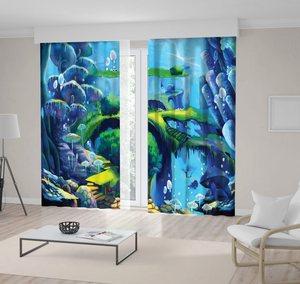 Curtain Underwater World Waterfall Under Sea Flying Fish Bridge Stone Stairs Cartoon Scene Blue Green