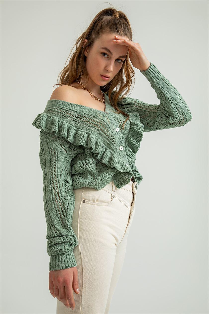 kadın İlkbahar yaz kazak ve hırka düşük v yaka örgü üstleri uzun kollu Hollow Out seksi hırka gevşek beyaz tops