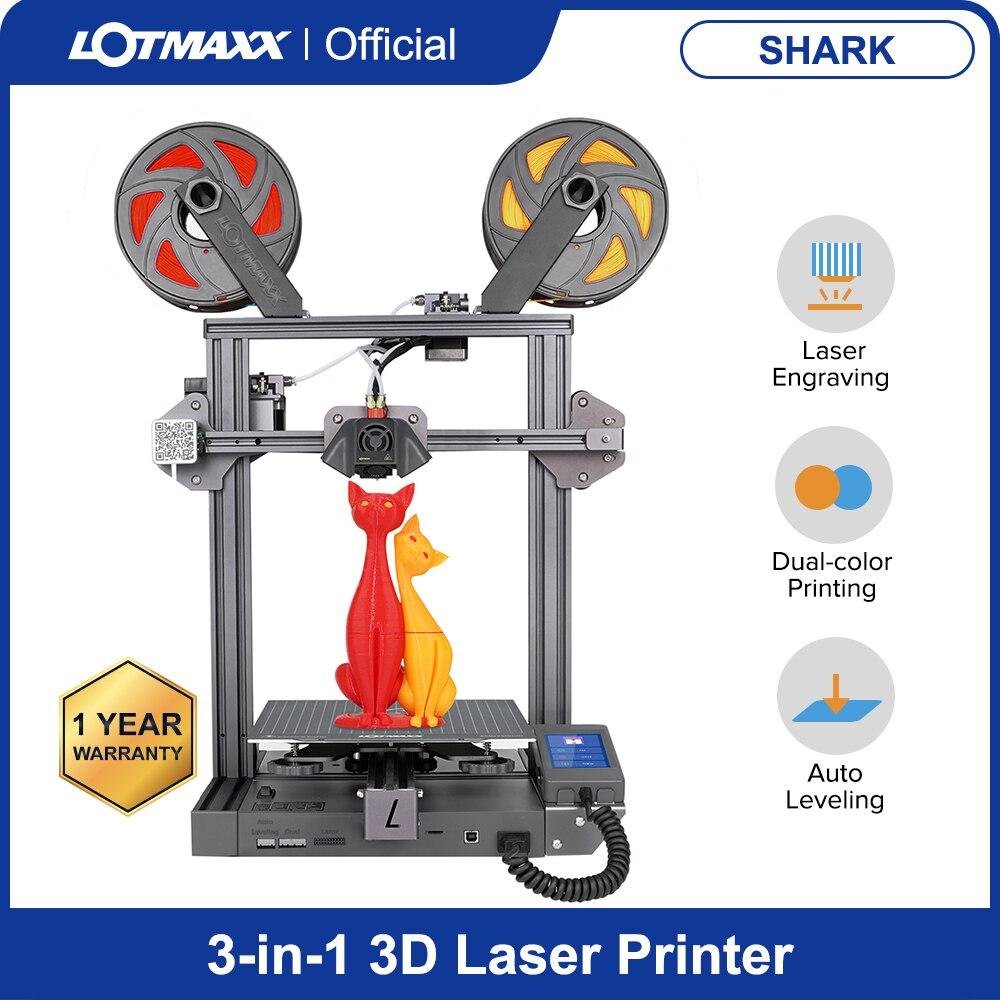 طابعة ثلاثية الأبعاد من LOTMAXX Shark مع النقش بالليزر والطباعة ثنائية الألوان التسوية التلقائية 3 in1 ، 95% آلة طابعة ثلاثية الأبعاد معدنية مجمعة مسب...