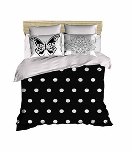 100% Turkish Cotton Butterfly Beddding Polka Dot Themed 3D Printed Duvet Cover Set, Made in Turkey
