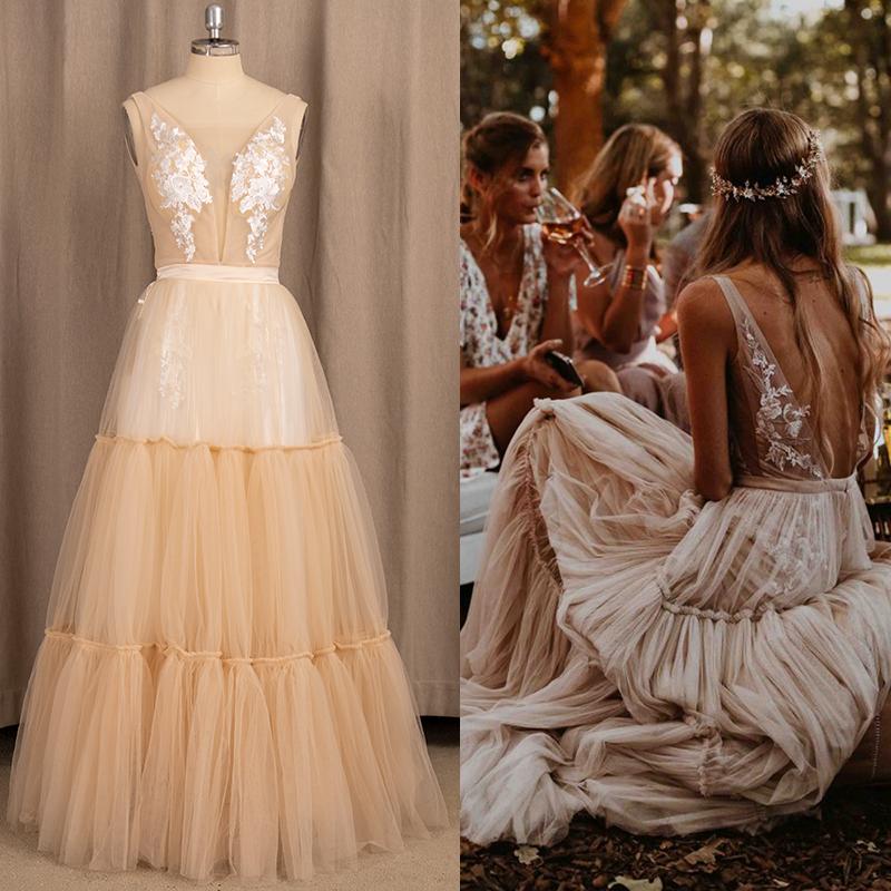 Boho Deep V Neck Tulle Bridal Gown Applique Sleeveless Beach Tiered A Line Bohemian Hippie Outdoor Wedding Dress Custom Made