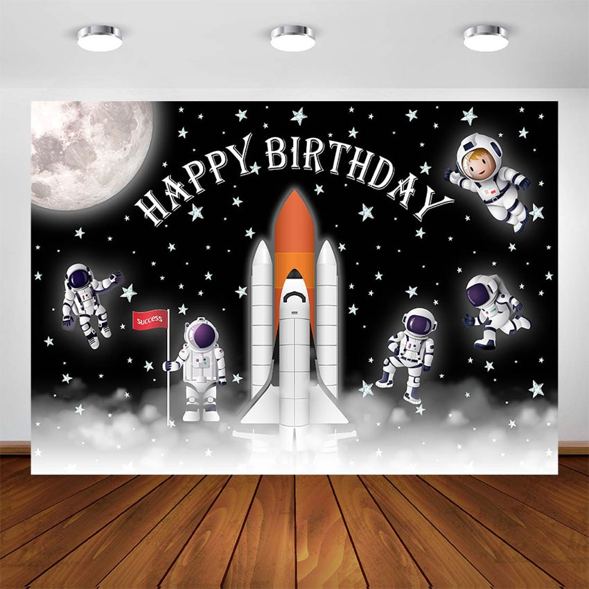 Outer Space Birthday Party Decoration Backdrop Starry Sky Moon Earth Space Rocket Photography Background Supplies Photo Studio