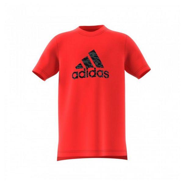 Camiseta de manga curta para crianças adidas yb prime log te vermelho