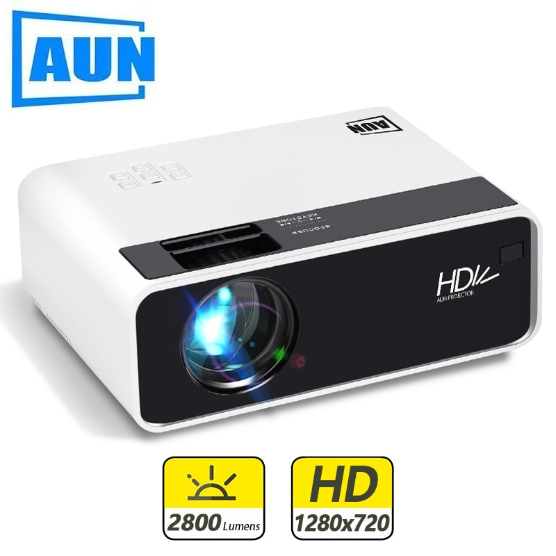 AUN Mini Projector D60 1280 x 720P Support Full HD 1080P for Home Theater Android WIFI TV box (Optional) 3D LED Projector AC3