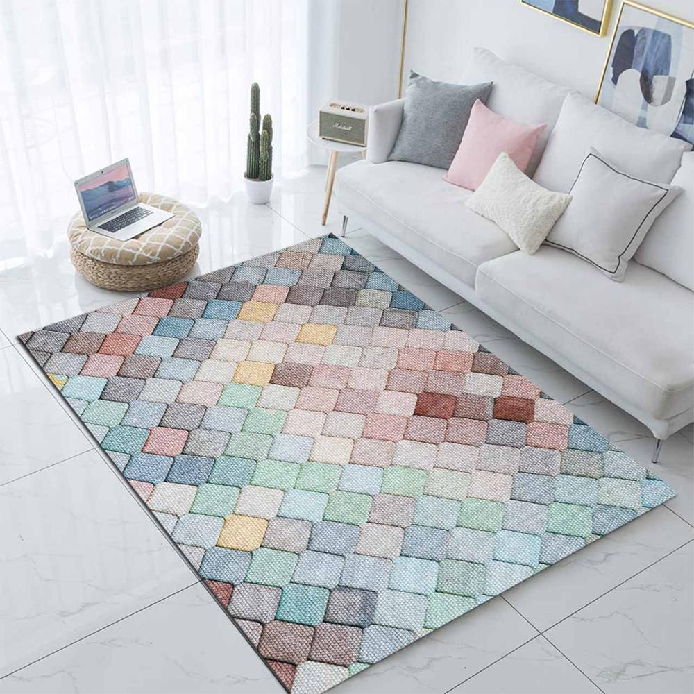 Else Colored Tiles Geometric Nordec Scandinav  3d Print Non Slip Microfiber Living Room Decorative Modern Washable Area Rug Mat