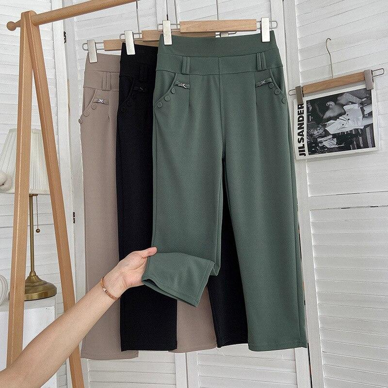 Летняя пригородная одежда, новинка 2021, тонкие женские брюки стрейч большого размера с высокой талией, женские летние повседневные брюки