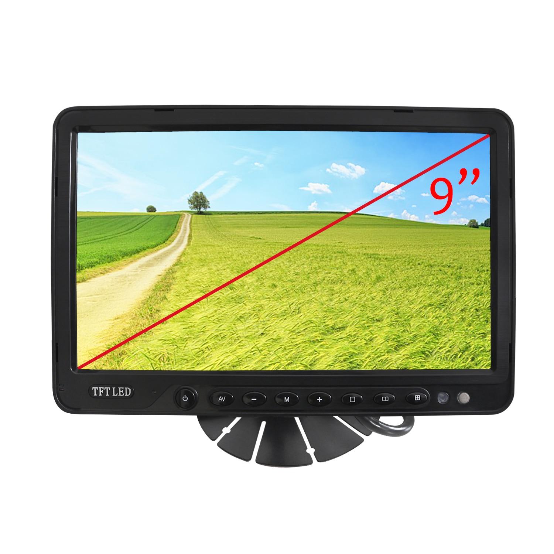 "Monitor aparcamiento LCD Quad TFT 9"" para cámaras traseras. Válido para camiones, coches, etc.. dispone de 4 Entradas para cámaras"
