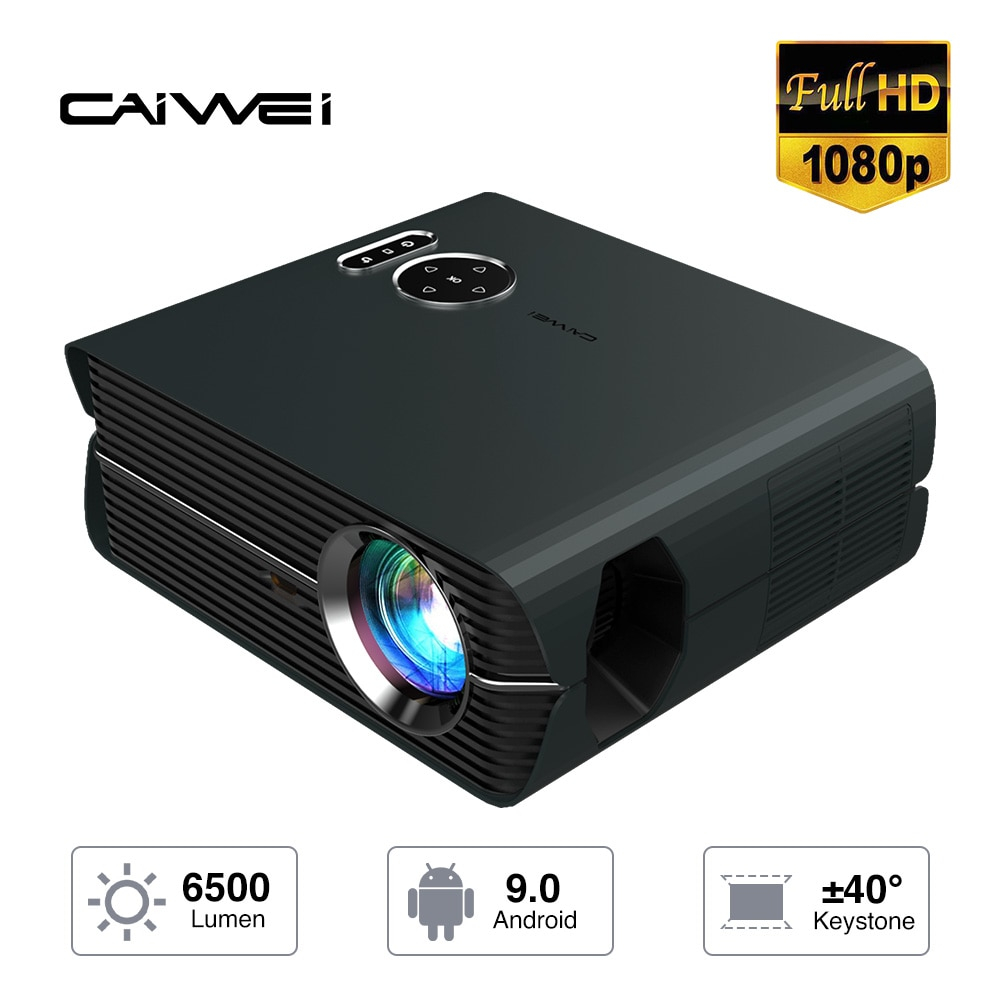 Full Hd 1080P Projector Video Led Home Theater 6500 Lumens High Bright Wireless Airplay Black Color