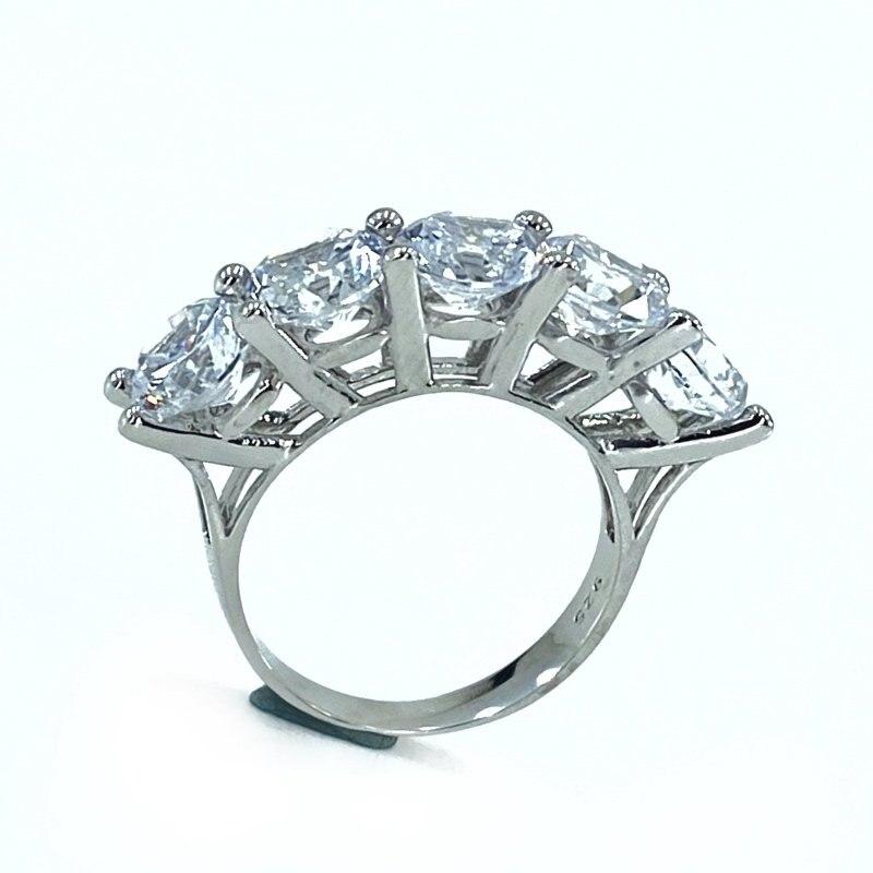 6 mm 4.50 Carat Big Zircon Cubic Zirconia Dibs Silver Ring