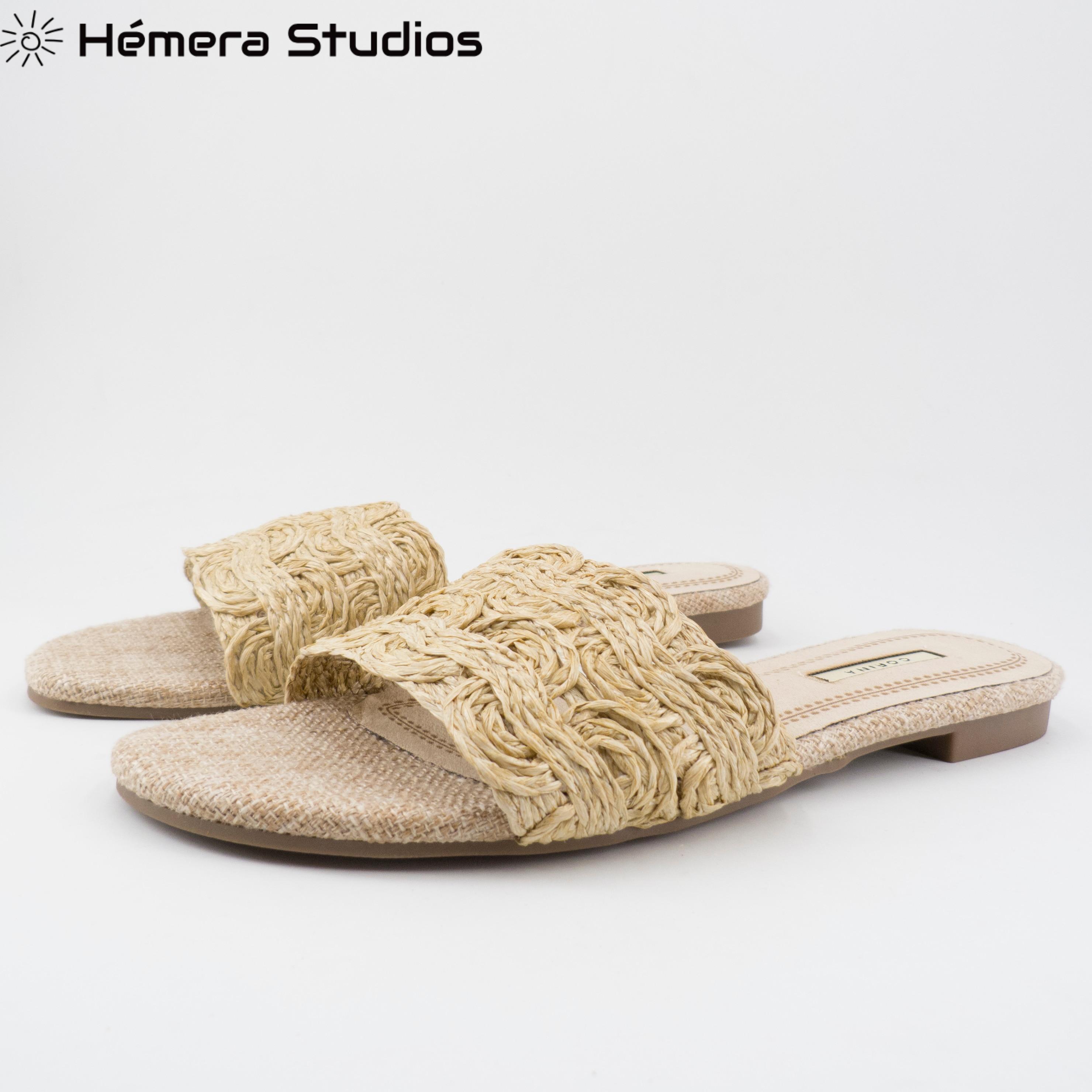 Sandalia mujer 2020 verano natural con tira ancha trenzada playa casual estilo roma comodas combinable cómodas