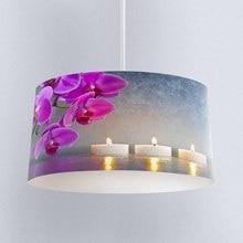 Else flores moradas románticas velas tela impresa Digital lámpara tambor pantalla piso techo colgante sombra de luz
