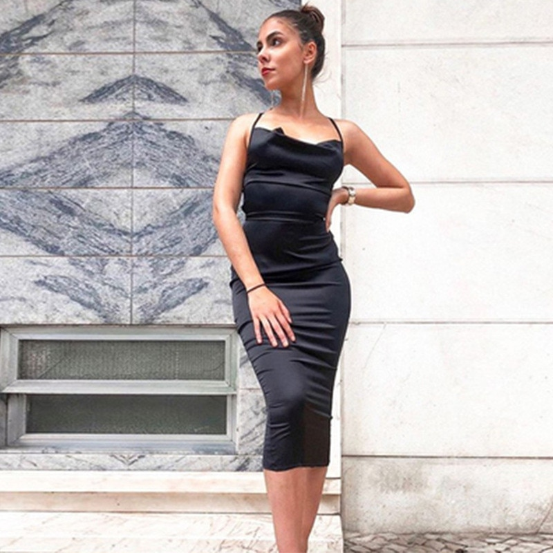 2021 Neon Satin Backless Dresses Women Bodycon Long Midi Vintage Lace Up Elegant Outfits Sexy Clothes Vestido Dress Party Summer