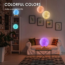 LED Moon Light Night Light 3D Printing Rechargeable Color Changing Light Touch Moon Light Romantic C
