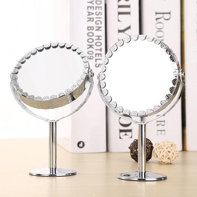 Espejo de maquillaje de doble cara transparente de moda lupa de pie Normal forma redonda HD espejos cosméticos de metal herramienta de maquillaje