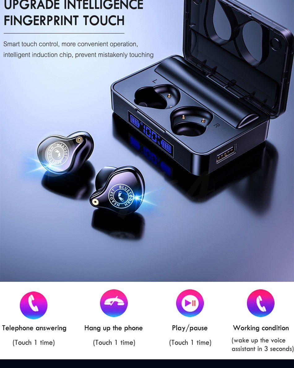 Wireless Bluetooth Headphones With 3600mAh Charging Case Waterproof Touch Control TWS Bluetooth 5.0 Earphone For iPhone Samsung enlarge