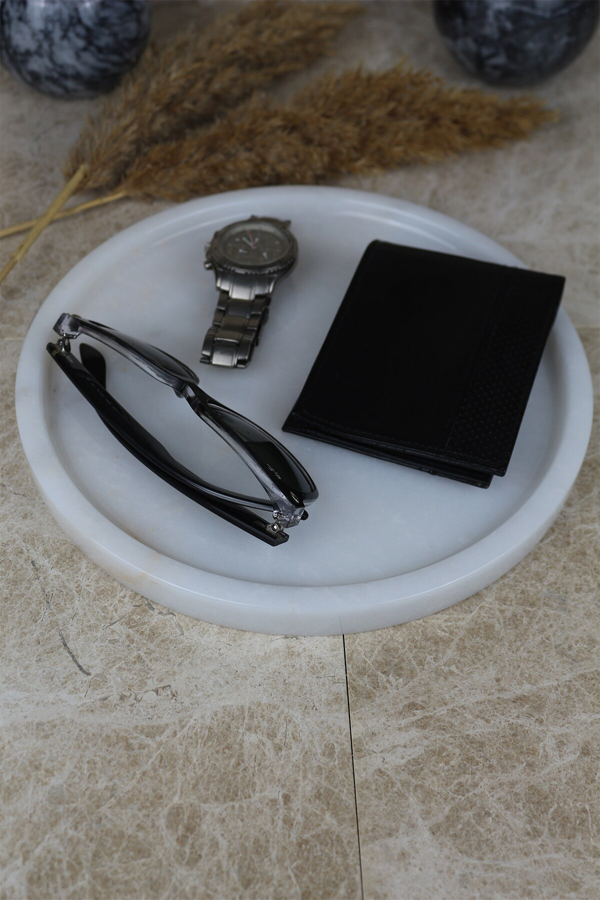 Nordic 25cm white real natural marble tray bathroom storage round jewelry box kitchen dish dispenser luxury Tiss enlarge