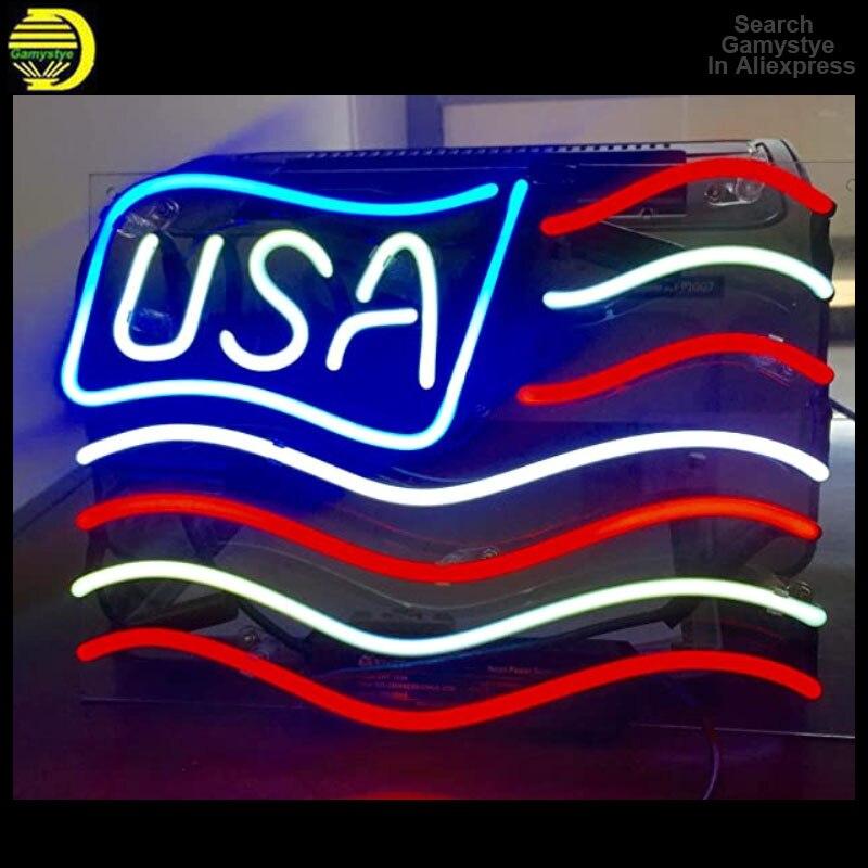 مصباح حائط led نيون ، 10kv ، علم الولايات المتحدة الأمريكية ، إضاءة داخلية ، لوحة إضاءة led ، مثالي للحانة أو الحائط ، البث المباشر ، الأكريليك