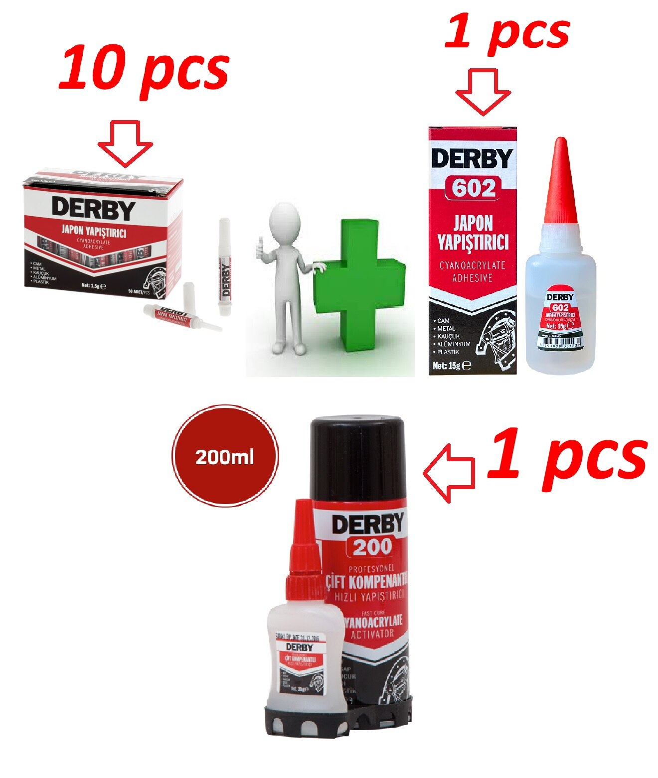10 pieces of 1.5g superstructure adhesive, 1 piece of 20 g 602 strong adhesive, 1 piece of double compound 35 g + 200 ml
